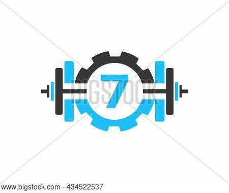 Fitness Gym Logo On Letter 7. Fitness Club Icon With Exercising Equipment. Initial Alphabet Letter 7