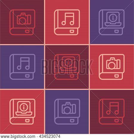 Set Line Photo Album Gallery, User Manual And Audio Book Icon. Vector