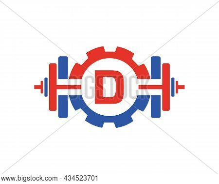 Fitness Gym Logo On Letter D. Fitness Club Icon With Exercising Equipment. Initial Alphabet Letter D