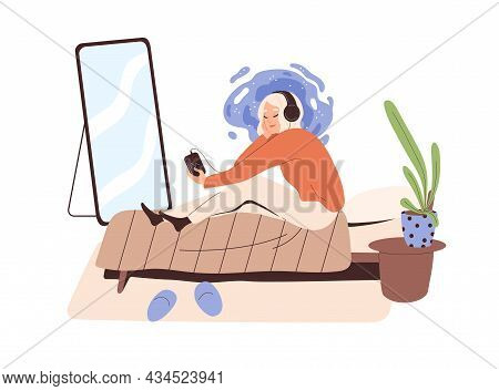Relaxed Person Listening To Music In Headphones. Happy Woman Enjoying Leisure Time In Bed At Home. F