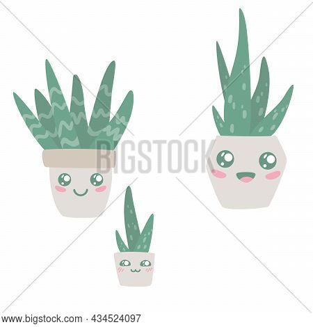 Set Of Kawaii Aloe Vera In Pots. Hand Drawn Collection Of Cute House Plants Growing In Pots. Aloe In