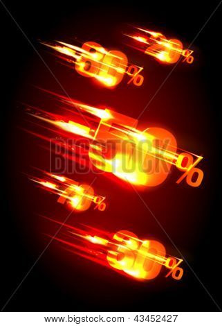 Meteor rain discounts design template. Eps10 Vector.