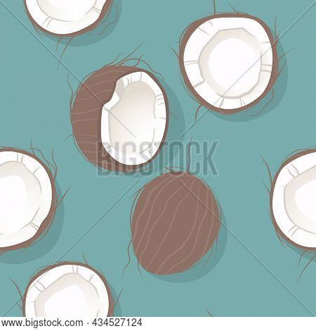 Seamless Pattern With Coconuts. Half A Coconut, Whole Coconut. Summer And Paradise Background. Wallp