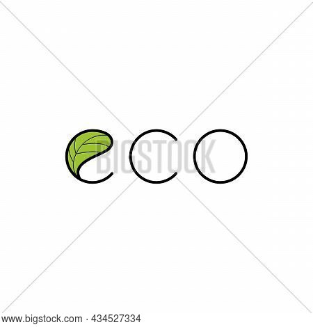 Eco Logo With Leaf. Natural, Eco.  Natural Badges For Green Company. . Vector Minimalistic Logo.