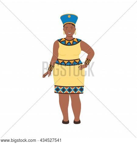 Cheerful Plump Young African Woman In Traditional National Clothes Cartoon Vector Illustration