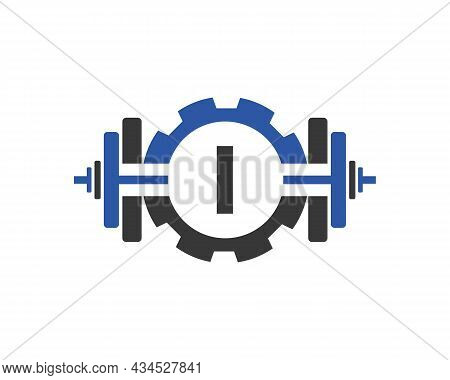 Fitness Gym Logo On Letter I. Fitness Club Icon With Exercising Equipment. Initial Alphabet Letter I