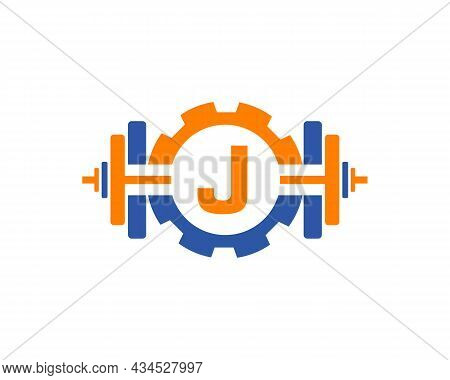 Fitness Gym Logo On Letter J. Fitness Club Icon With Exercising Equipment. Initial Alphabet Letter J
