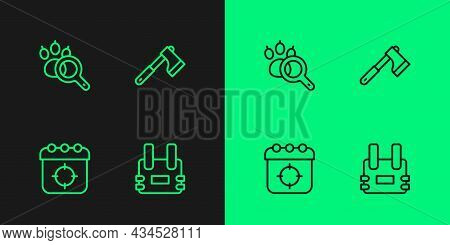 Set Line Bulletproof Vest, Target Sport, Paw Search And Wooden Axe Icon. Vector