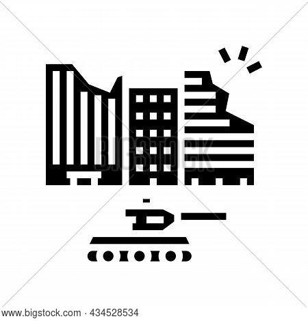War Destruction Glyph Icon Vector. War Destruction Sign. Isolated Contour Symbol Black Illustration