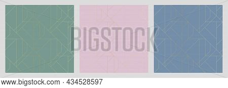 Golden Texture. Set Of Seamless Geometric Patterns. Golden Background. Collection Of Vector Seamless