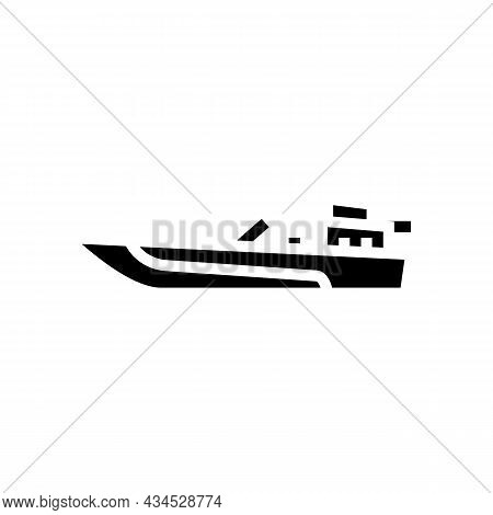 Jet Boat Glyph Icon Vector. Jet Boat Sign. Isolated Contour Symbol Black Illustration