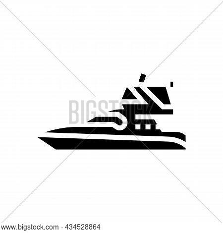 Sedan Bridge Boat Glyph Icon Vector. Sedan Bridge Boat Sign. Isolated Contour Symbol Black Illustrat
