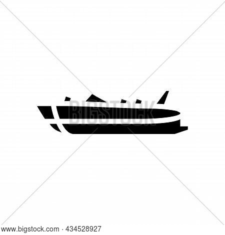 Deck Boat Glyph Icon Vector. Deck Boat Sign. Isolated Contour Symbol Black Illustration