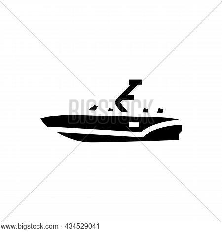 Bowrider Boat Glyph Icon Vector. Bowrider Boat Sign. Isolated Contour Symbol Black Illustration