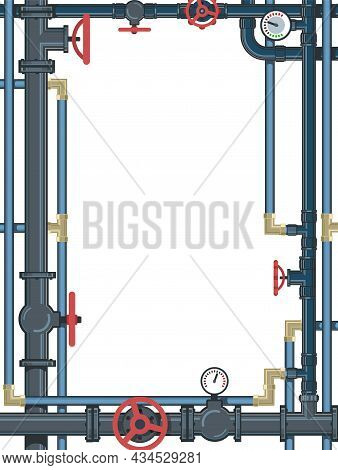 Water Fittings. Pipeline For Various Purposes. Frame With A Place For The Text About The Service. Wi