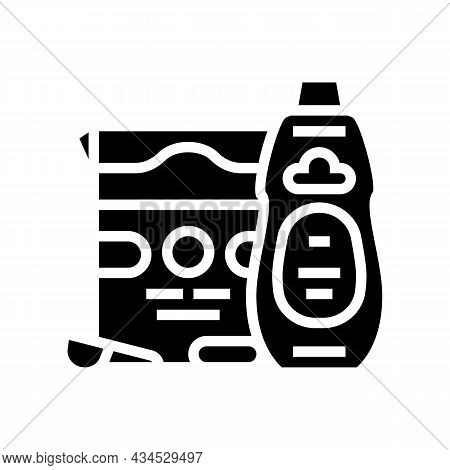 Laundry Set Glyph Icon Vector. Laundry Set Sign. Isolated Contour Symbol Black Illustration
