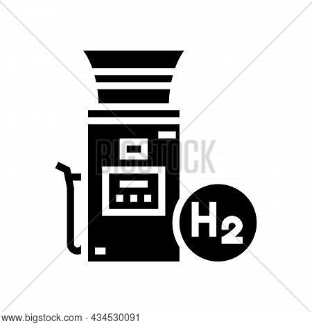 Charging Electric Car Station Glyph Icon Vector. Charging Electric Car Station Sign. Isolated Contou