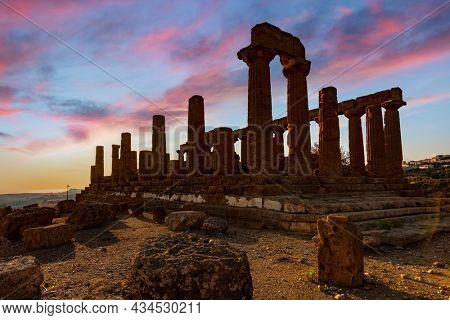 Temple of Juno in the Valley of the Temples in Agrigento. Italy