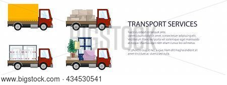 Red Small Trucks With Different Loads , Empty And Covered Trucks, Lorries With Furniture And Windows