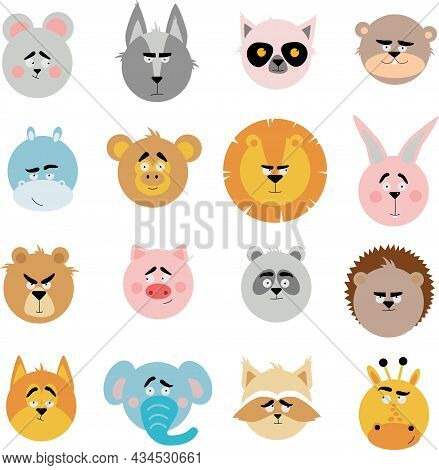 A Set Of Illustrations With Animal Heads. Animal Emotions.