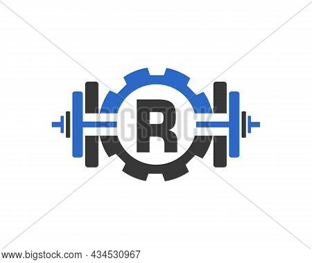 Fitness Gym Logo On Letter R. Fitness Club Icon With Exercising Equipment. Initial Alphabet Letter R