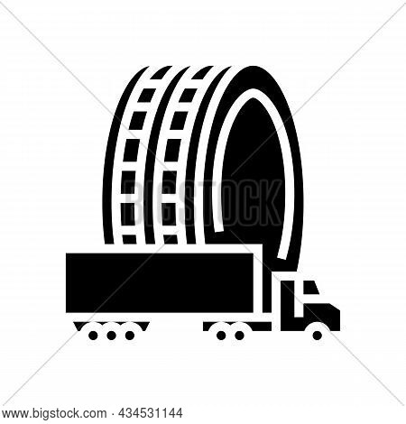 Commercial Truck Tires Glyph Icon Vector. Commercial Truck Tires Sign. Isolated Contour Symbol Black
