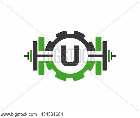 Fitness Gym Logo On Letter U. Fitness Club Icon With Exercising Equipment. Initial Alphabet Letter U