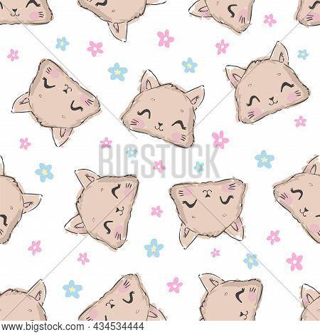Cute Cat Seamless Pattern, Hand Drawn Kitten Vector Illustration