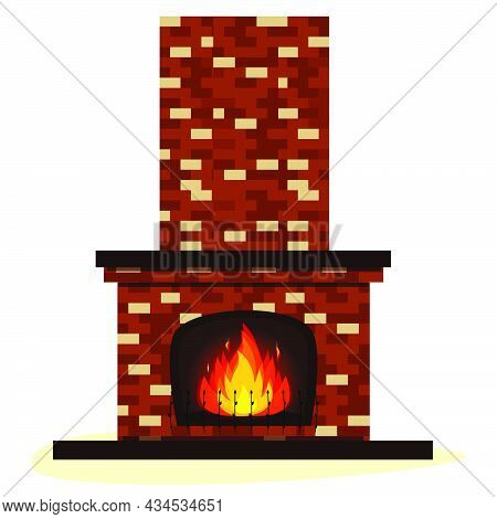 Old Traditional Brick Fireplace With Fire Isolated On White. Vector Illustration Flat.