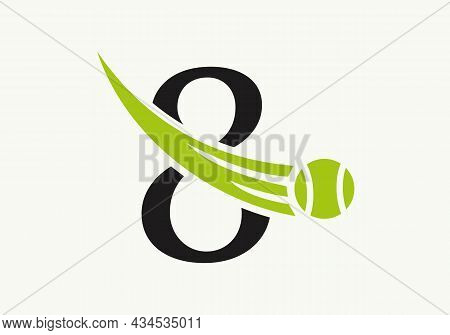 Tennis Logo Design Template On Letter 8. Tennis Sport Academy, Club Logo With 8 Letter