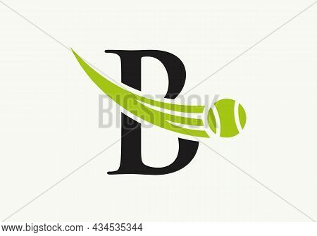 Tennis Logo Design Template On Letter B. Tennis Sport Academy, Club Logo With B Letter