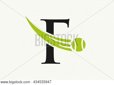Tennis Logo Design Template On Letter F. Tennis Sport Academy, Club Logo With F Letter