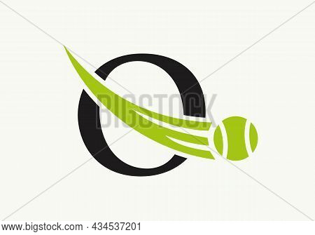 Tennis Logo Design Template On Letter O. Tennis Sport Academy, Club Logo With O Letter