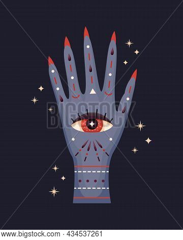 Vector Illustration Of A Witch's Hand. Mystical Illustration.