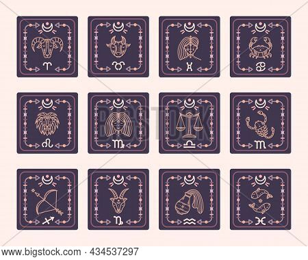 A Set Of Vector Maps With Zodiac Signs. Astrological Cards.