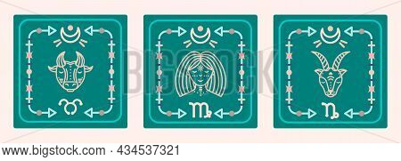 A Set Of Vector Maps With Earth Signs Of The Zodiac. Astrological Cards.