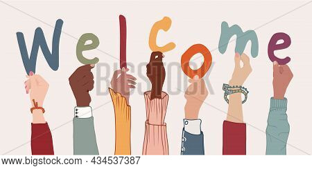 Raised Arms Of Colleagues Or Friends Diverse Multi-ethnic Multicultural People Holding Letters Formi