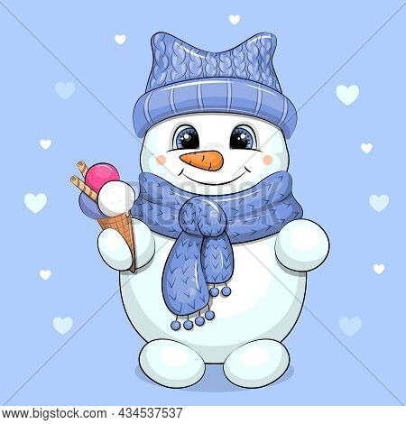 A Cute Cartoon Snowman In A Blue Hat And Scarf Is Holding An Ice Cream. Vector Illustration On A Blu