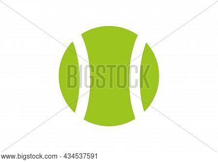 Tennis Logo Design Template. Tennis Icon Vector. Tennis Racket Green Ball Silhouette
