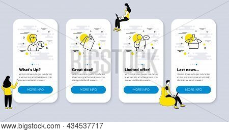 Set Of Business Icons, Such As Sale Tags, Search People, Customer Survey Icons. Ui Phone App Screens