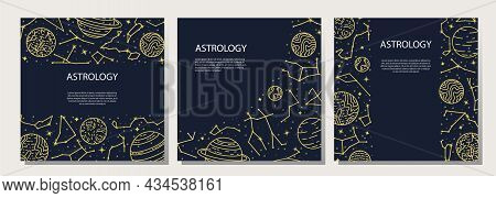Vector Set Of Posters With Planets And Constellations. Astrological Background. A Template With Spac