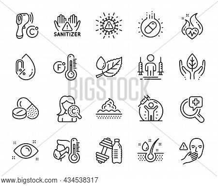 Vector Set Of Sick Man, Dont Touch And Electronic Thermometer Line Icons Set. Medical Analyzes, Vacc
