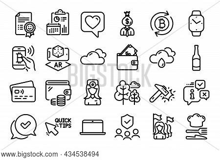 Vector Set Of Tree, Quick Tips And Wallet Line Icons Set. Calendar Report, Money Wallet And Credit C
