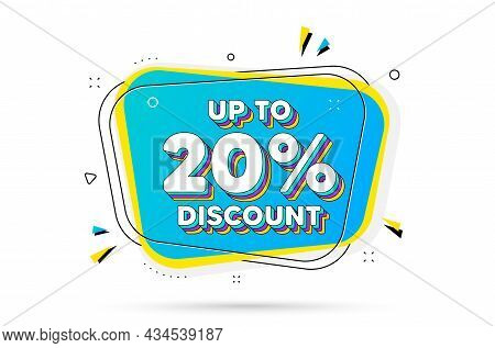 Up To 20 Percent Discount. Chat Bubble With Layered Text. Sale Offer Price Sign. Special Offer Symbo