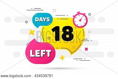 Eighteen Days Left Icon. Countdown Number On Abstract Flow Pattern. 18 Days To Go Sign. Count Offer