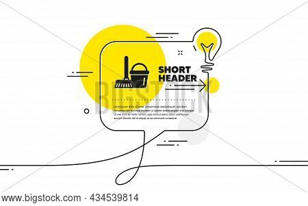 Cleaning Bucket With Mop Icon. Continuous Line Idea Chat Bubble Banner. Washing Housekeeping Equipme