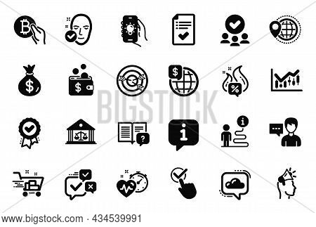 Vector Set Of Business Icons Related To Instruction Manual, Checkbox And Shopping Cart Icons. Approv