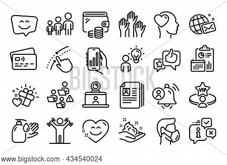 Vector Set Of Group People, Voting Hands And Video Conference Line Icons Set. Calendar Report, Money