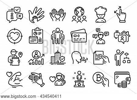 Vector Set Of Group, Success And Work Home Line Icons Set. Calendar Report, Money Wallet And Credit