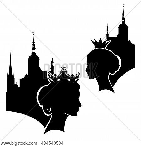 Fairy Tale Medieval Queen Or Princess Profile Head Silhouette And Castle Towers Outline - Beautiful